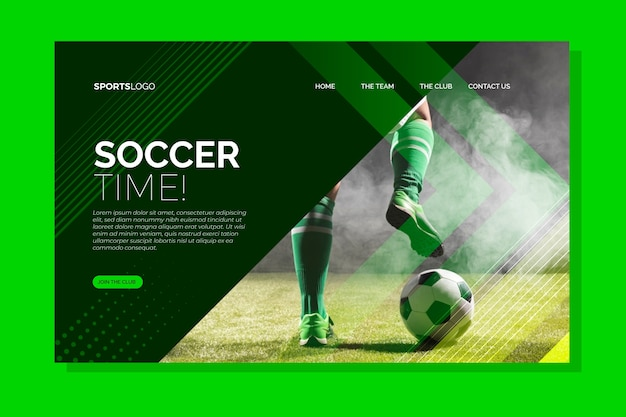 画像付きのランディングページスポーツ 無料ベクター