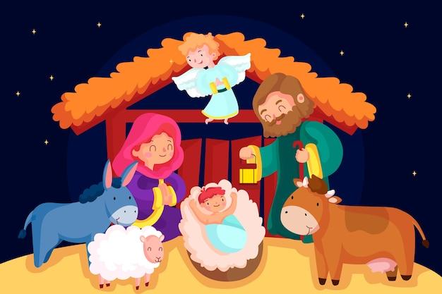 動物と安定したキリスト降誕のシーン 無料ベクター