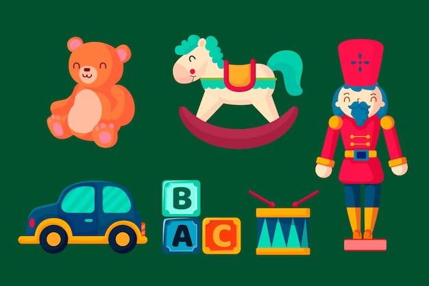 Рождественская коллекция игрушек в плоском дизайне Бесплатные векторы