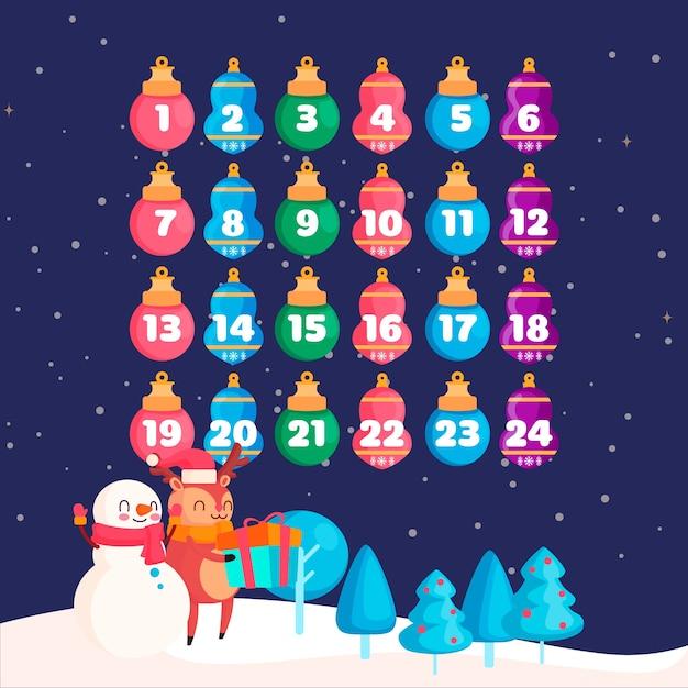 フラットデザインのアドベントカレンダー 無料ベクター