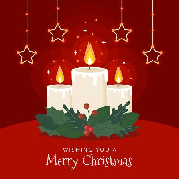 Рождественская свеча фон с приветствием Бесплатные векторы