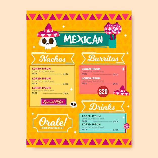 メキシコ料理のレストランメニューテンプレート 無料ベクター