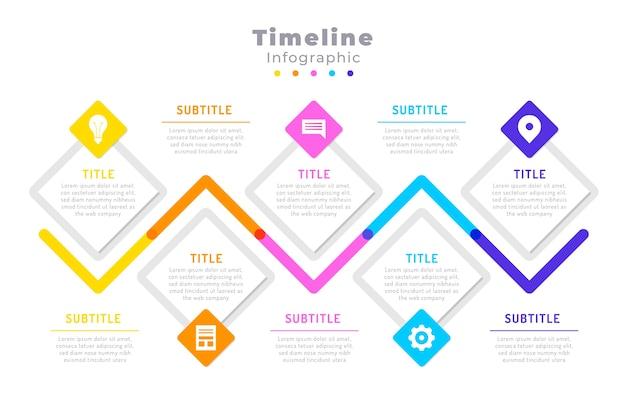 Хронология инфографики в плоском дизайне Бесплатные векторы