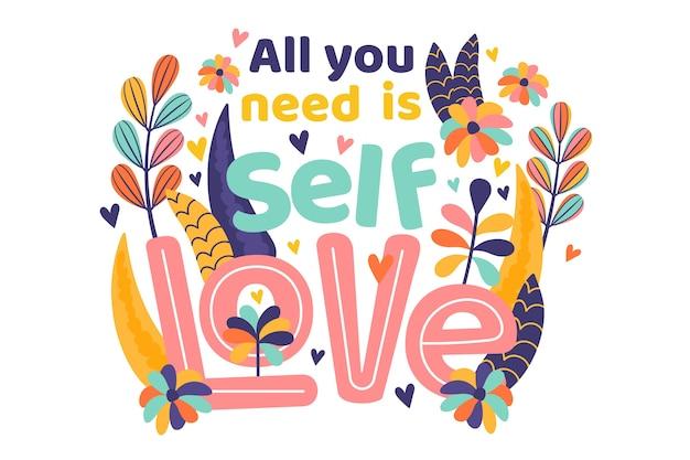 Самостоятельная любовь надписи с цветами Бесплатные векторы