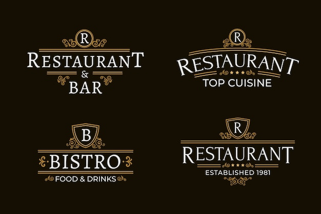 レストランレトロなロゴのテンプレートセット 無料ベクター