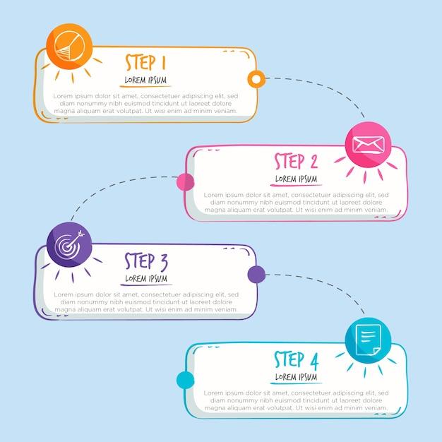 Рисованной инфографики шаги Бесплатные векторы