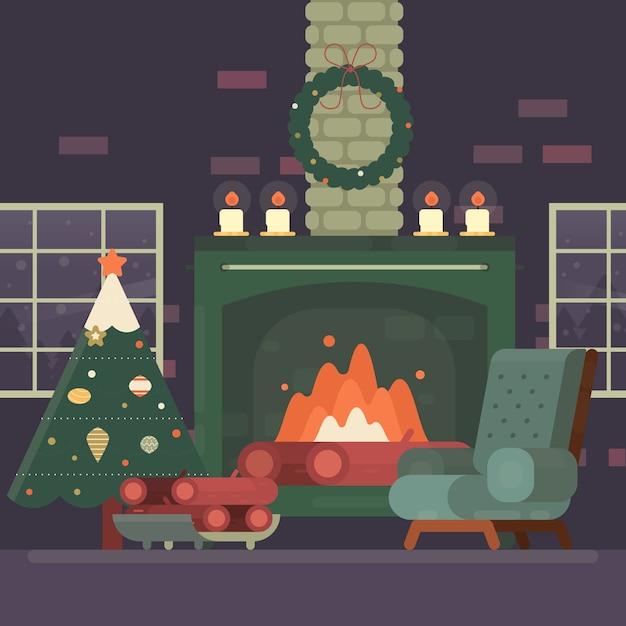 Рождественская сцена камина в плоском дизайне Бесплатные векторы