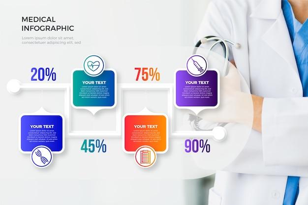 写真と医療のインフォグラフィック 無料ベクター