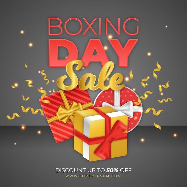 Реалистичная концепция продажи день бокса Бесплатные векторы