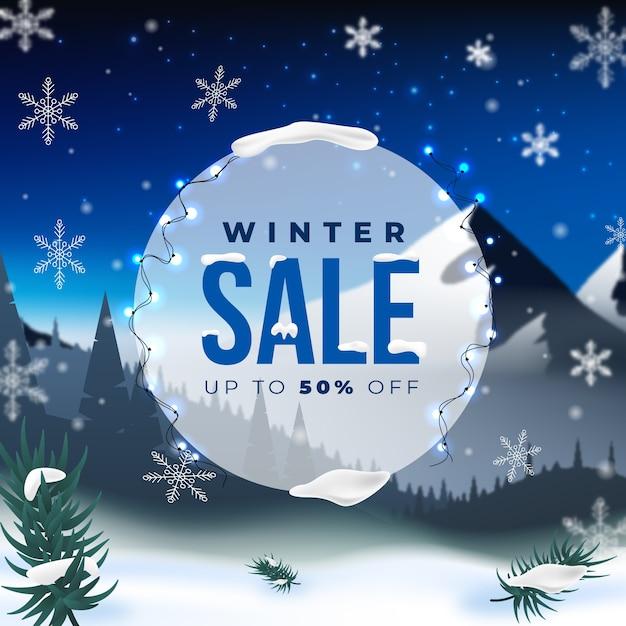 現実的な冬の販売コンセプト 無料ベクター