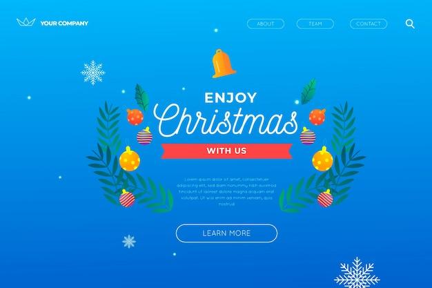 クリスマスのランディングページテンプレート 無料ベクター