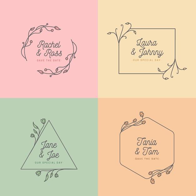 結婚式のモノグラムのシンプルなコンセプト 無料ベクター