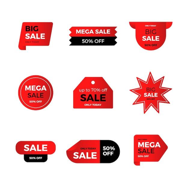 赤い販売ラベルのコレクション 無料ベクター