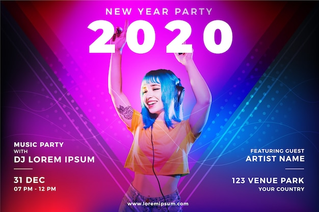 Красочная новогодняя вечеринка Бесплатные векторы