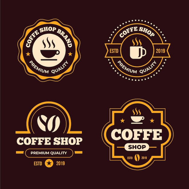 コーヒーショップレトロなロゴコレクションコンセプト 無料ベクター