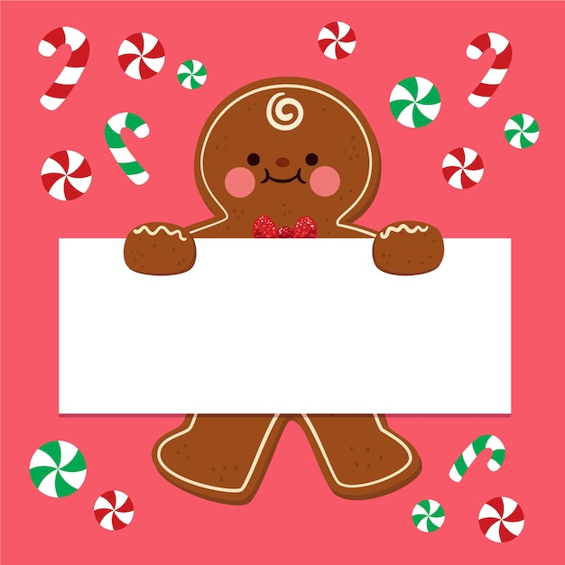 白紙の横断幕を持ってクリスマス文字 無料ベクター