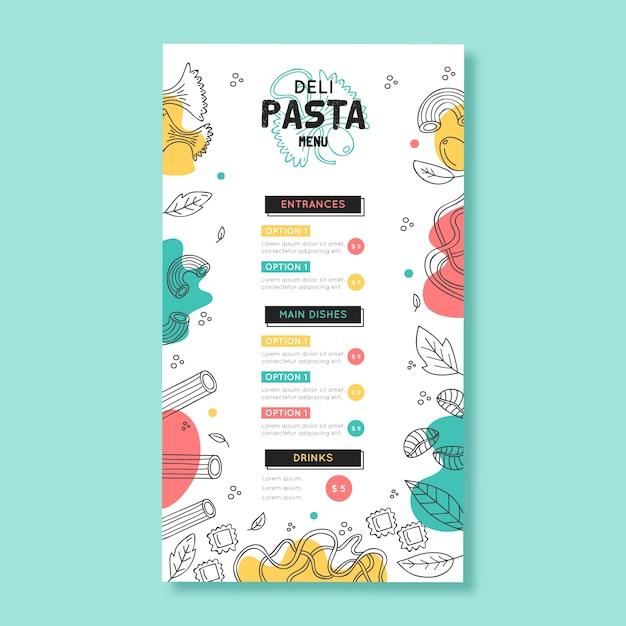 Шаблон меню ресторана с красочным дизайном Бесплатные векторы