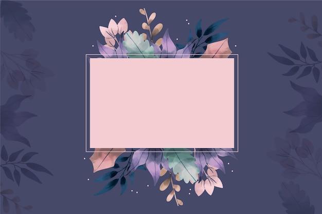 Ручной обращается зимние цветы фон с пустым значком Бесплатные векторы