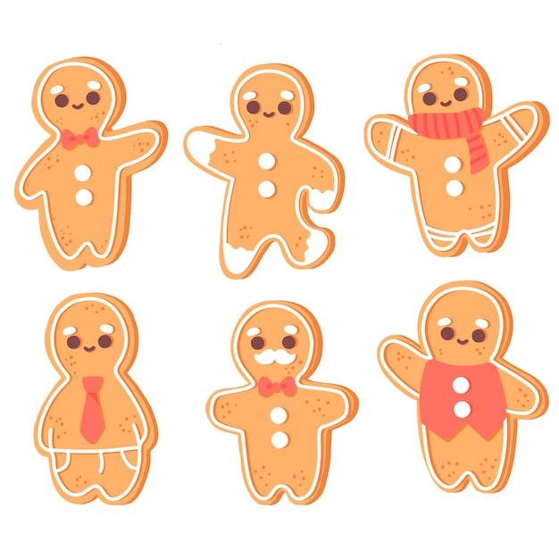 手描きのジンジャーブレッド人のクッキーコレクション 無料ベクター