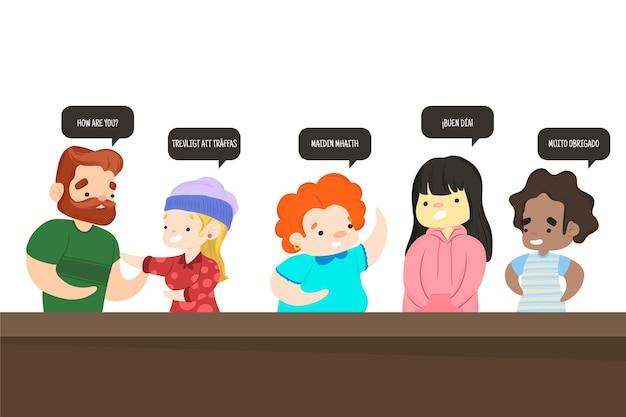 異なる言語を話している人々のグループ 無料ベクター