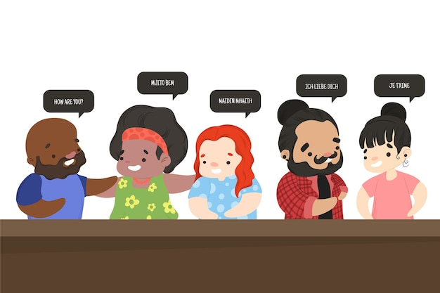 異なる言語を話すキャラクターのグループ 無料ベクター