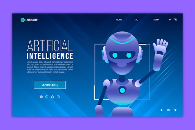 Шаблон целевой страницы искусственного интеллекта Бесплатные векторы