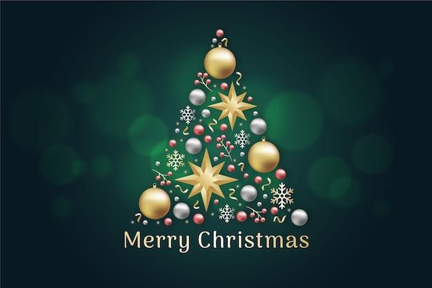 Рождественская елка концепция из реалистичного золотого украшения Бесплатные векторы