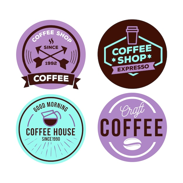 ビンテージスタイルのカラフルな最小限のロゴコレクションテンプレート 無料ベクター