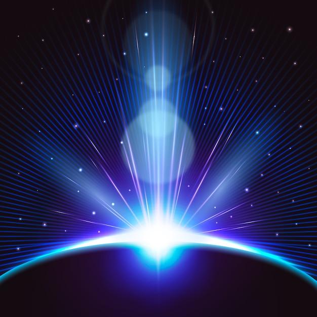 Яркий световой эффект восхода земли Бесплатные векторы