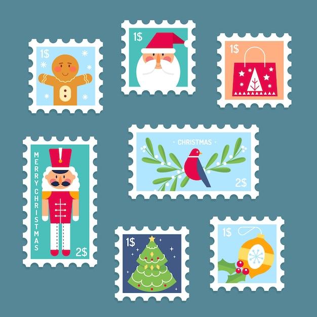 Плоский дизайн коллекция рождественских марок Бесплатные векторы