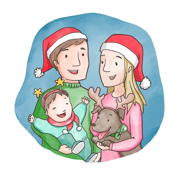 Рождественская семейная сцена концепции в акварели Бесплатные векторы