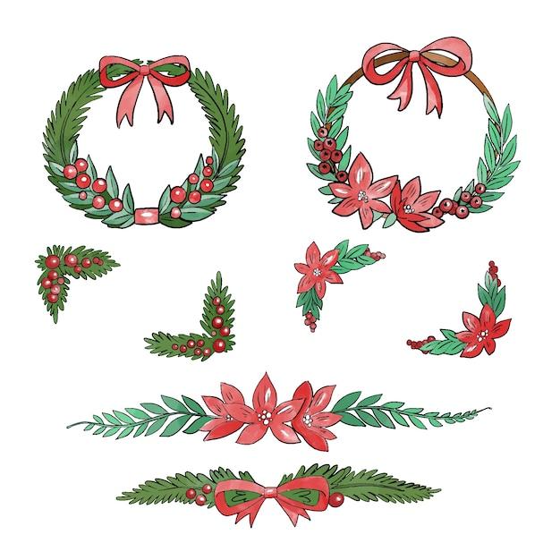 Рождественские акварельные рамки и бордюры Бесплатные векторы
