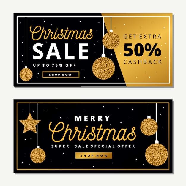 ゴールデンクリスマスセールのバナー 無料ベクター