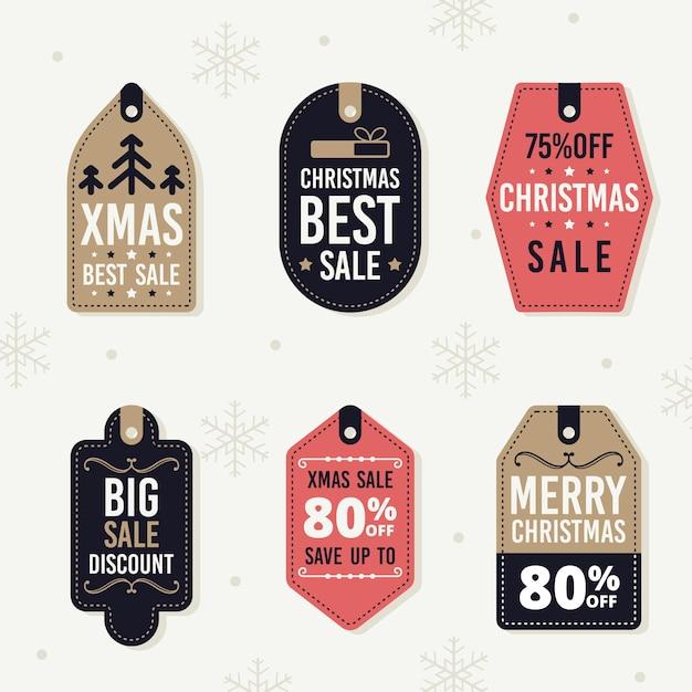 フラットなデザインのクリスマスセールタグコレクション 無料ベクター
