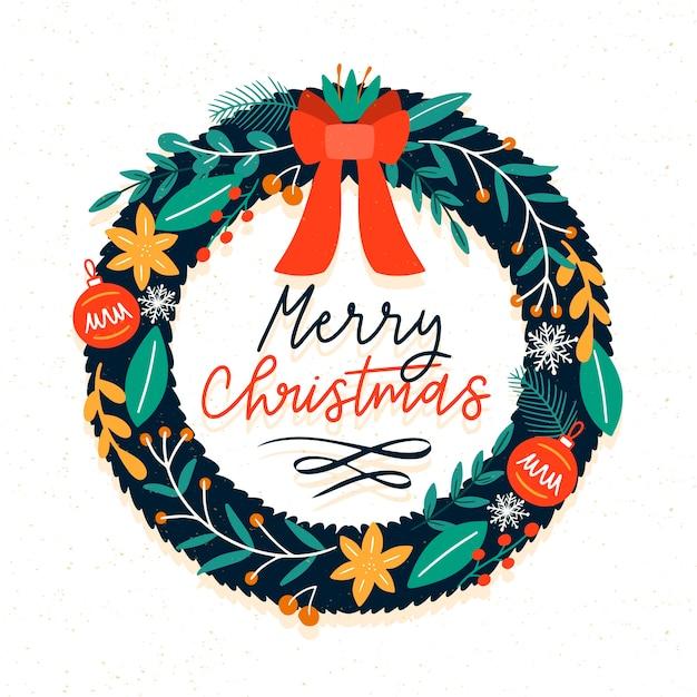 Нарисованная рукой концепция рождественского венка Бесплатные векторы