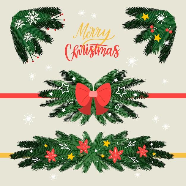 クリスマスフレームと手描きスタイルのボーダー 無料ベクター