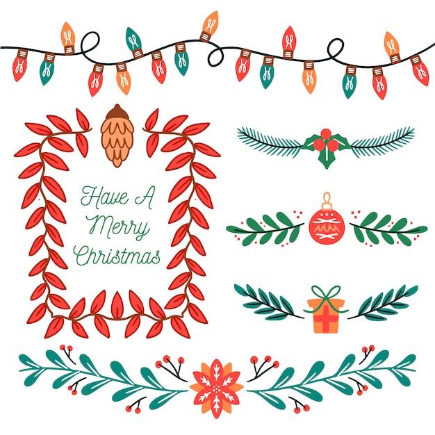 Нарисованные от руки рождественские бордюры и рамки Бесплатные векторы