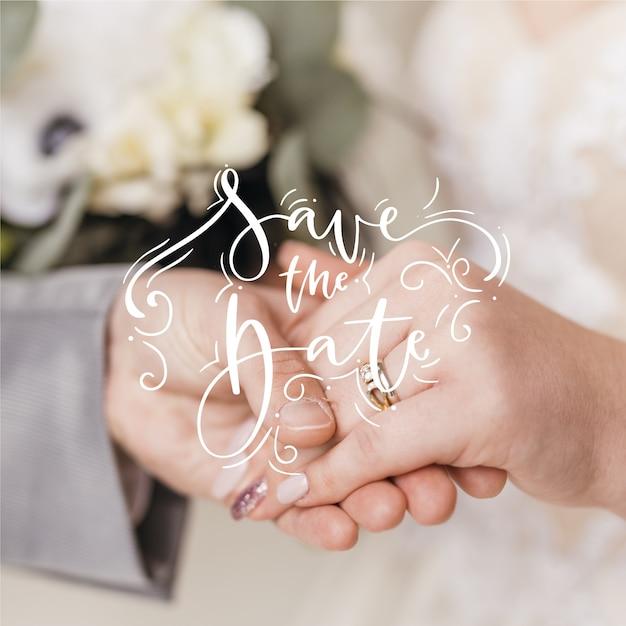 美しい結婚式は写真で日付を保存します 無料ベクター