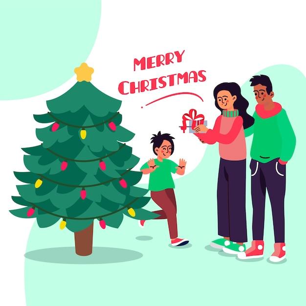 フラットなデザインのクリスマス家族シーンコンセプト 無料ベクター