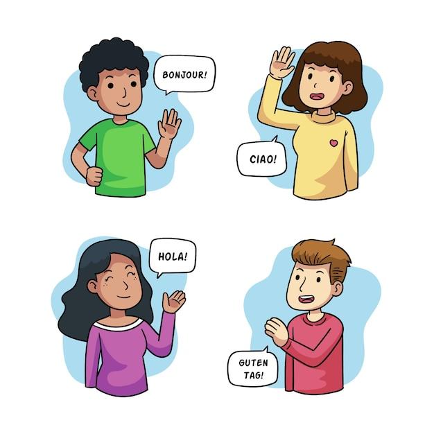 Молодые люди говорят на разных языках иллюстрации Бесплатные векторы