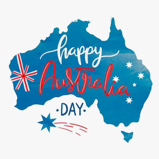水彩の幸せなオーストラリアの日 無料ベクター