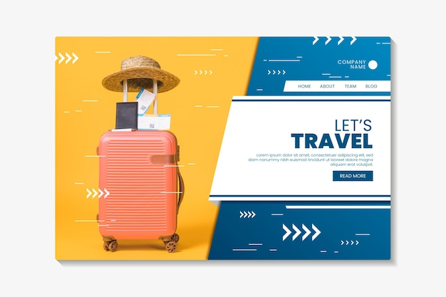 Шаблон целевой страницы путешествия с фотографией Бесплатные векторы