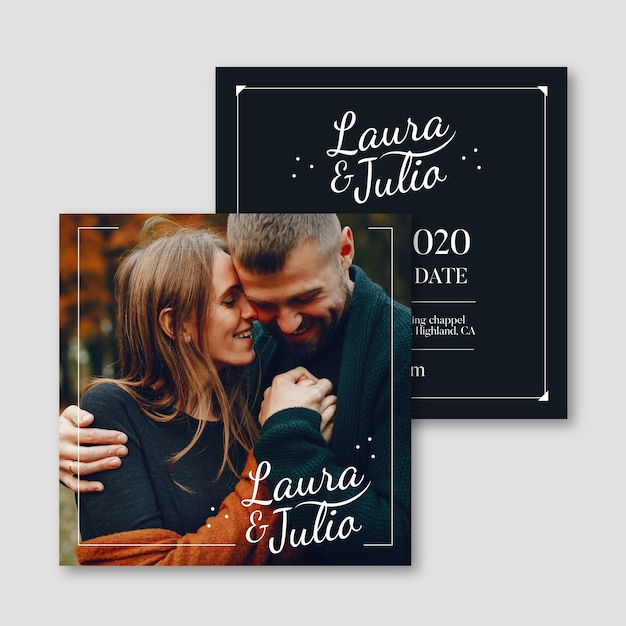Свадебные приглашения с фото шаблоном Бесплатные векторы