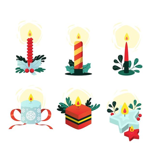 手描きクリスマスキャンドルコレクション 無料ベクター