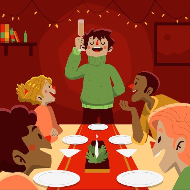 手描きのクリスマス家族シーンコンセプト 無料ベクター