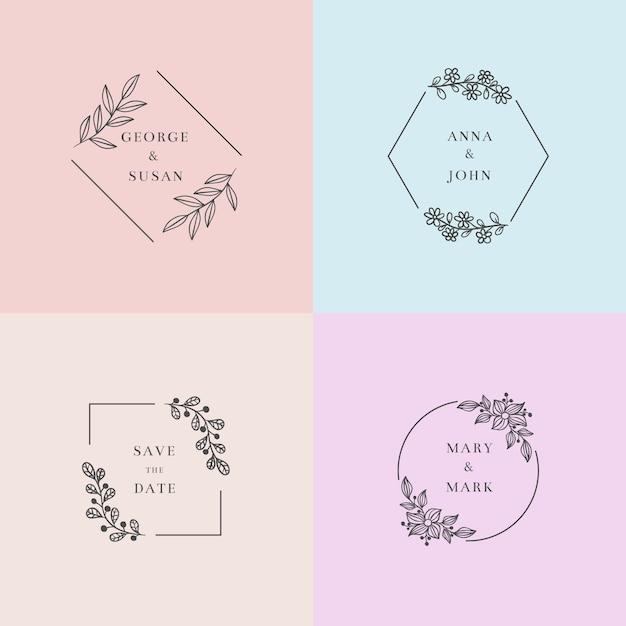 Красочные минималистичные свадебные монограммы в пастельных тонах Бесплатные векторы