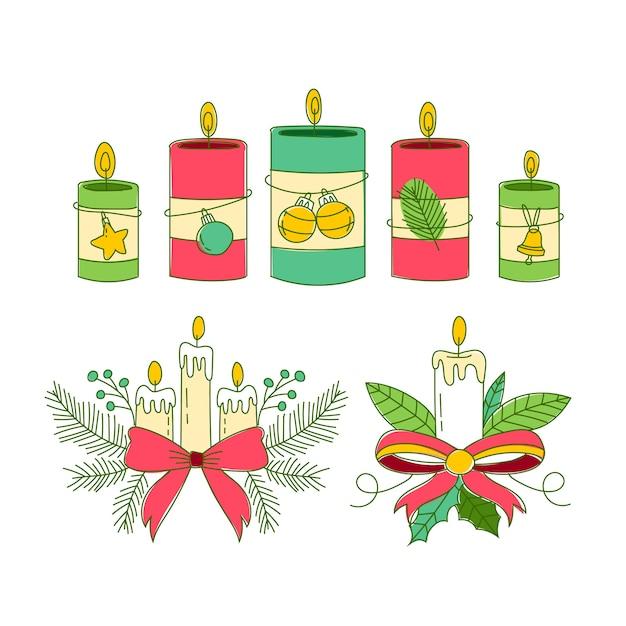 Ручной обращается рождественская коллекция свечей Бесплатные векторы