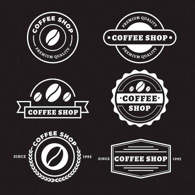 コーヒーショップレトロなロゴセット 無料ベクター