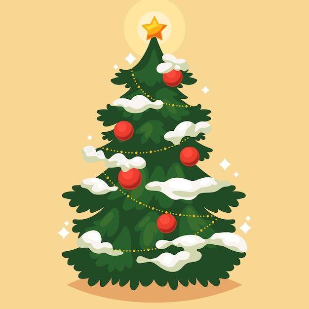 ビンテージクリスマスツリー 無料ベクター