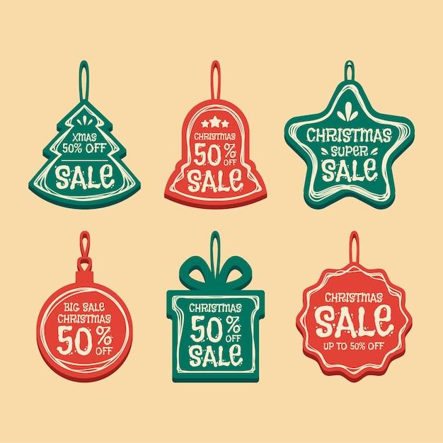 Рождественская коллекция тегов продажи в плоском дизайне Бесплатные векторы